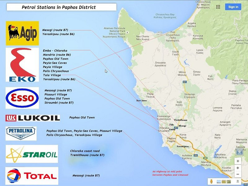 paphos petrol stations map